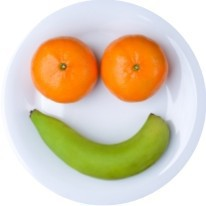 plate with oranges and banana