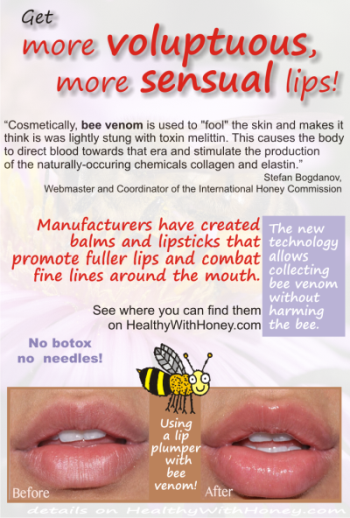 bee venom plumps the lips