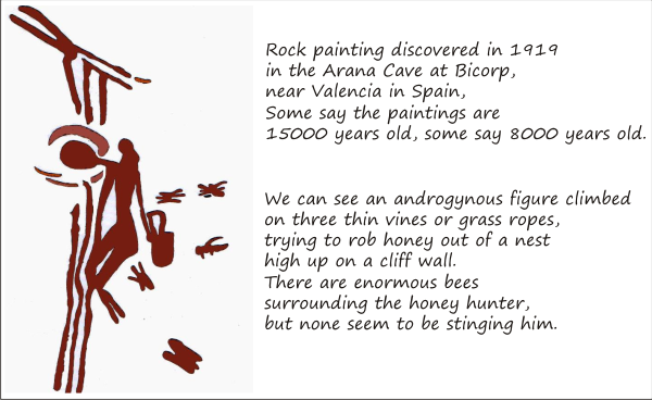 honey hunter on a rock drawing  discovered at Araña Caves, Valencia, Spain