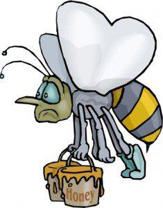 tired working bee cartoon