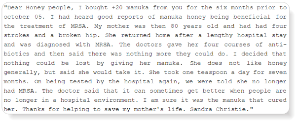 testimony on how manuka honey killed mrsa