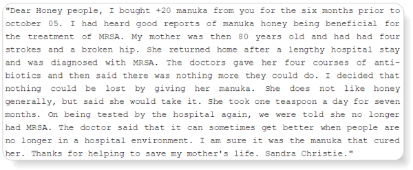 manuka honey killed mrsa - says testimony