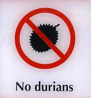durian fruit is not allowed in some hotels or in the subway