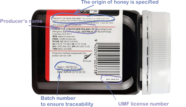 how to real the label of manuka honey jar