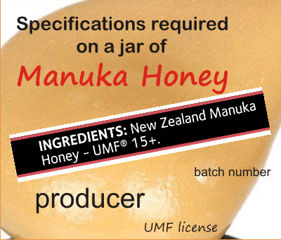 required specifications on the label of manuka honey