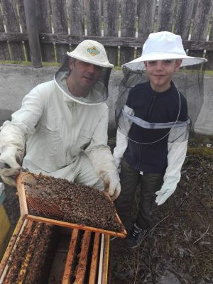 apiary book developer with his son